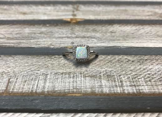Sterling Silver and White Opal Square Ring