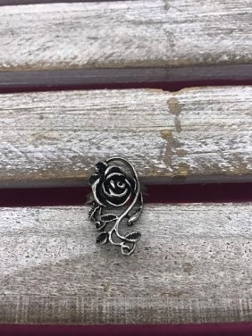 Stainless Steel Rose and Leaf Ring