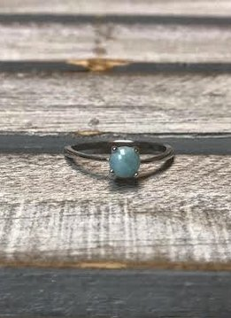 Sterling Silver and Round Larimar Ring