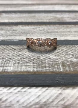 Sterling Silver Rose Gold Plated Ring with Cubic Zirconia