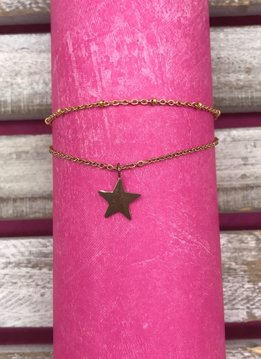 Stainless Steel Rose Gold Anklet with Star Charm