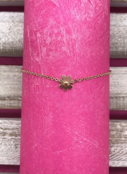 Stainless Steel Rose Gold Flower Anklet