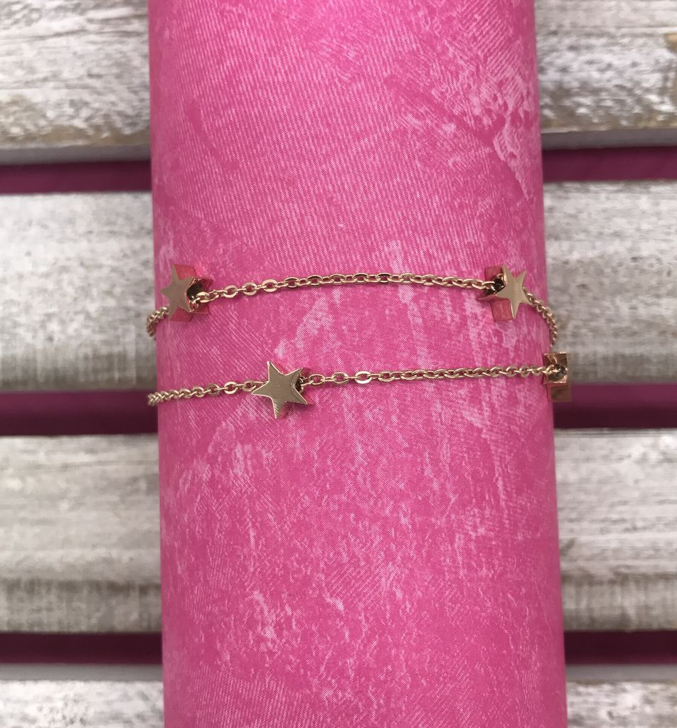 Rose Gold Stainless Steel Anklet with Stars