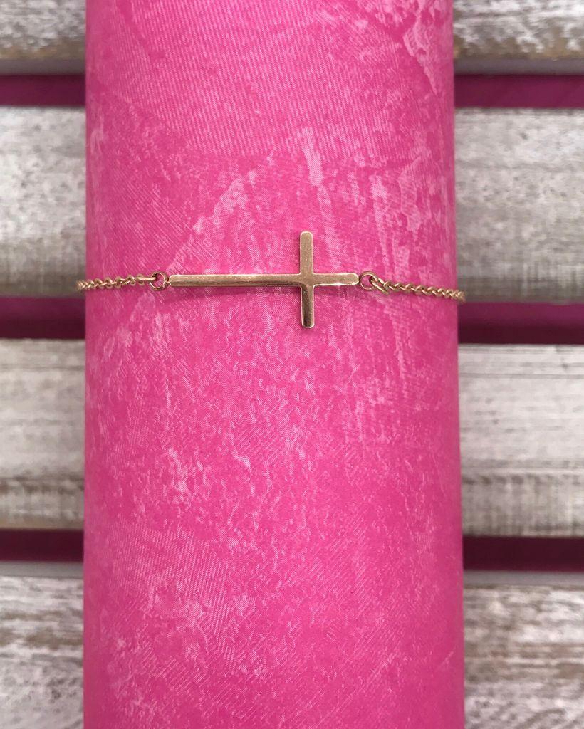 Stainless Steel Rose Gold Cross Anklet