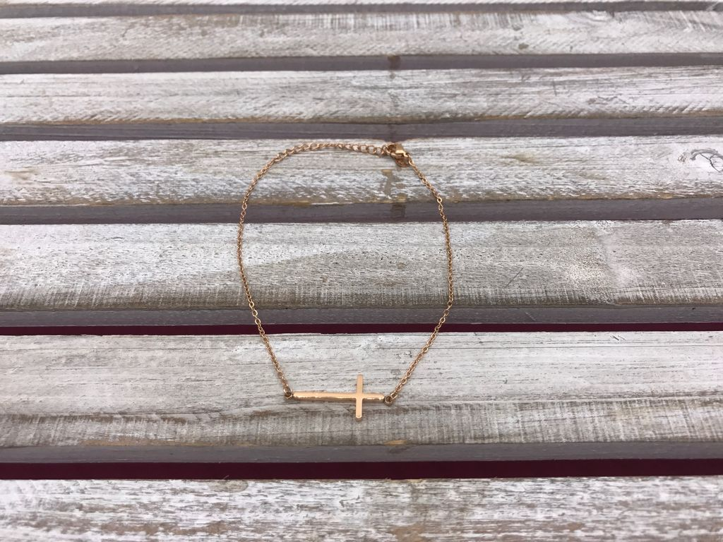Stainless Steel Rose Gold Cross Anklet