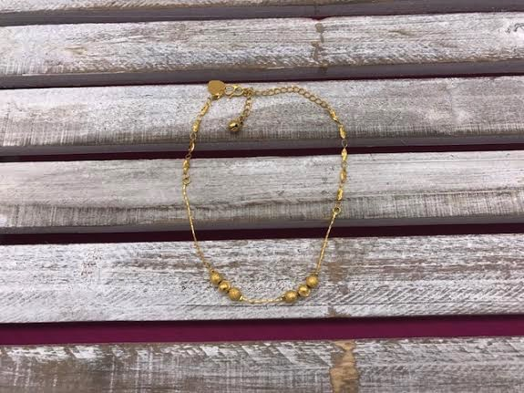 Gold Anklet with Balls
