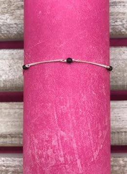 Sterling Silver Anklet with Black Beads