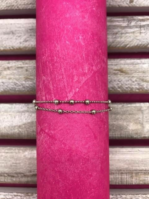 Sterling Silver Ball Anklet Layered