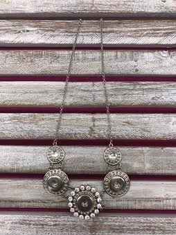 18mm 3 Snap Necklace with Rhinestones