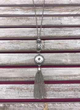 18mm Snap Long Necklace with Tassel