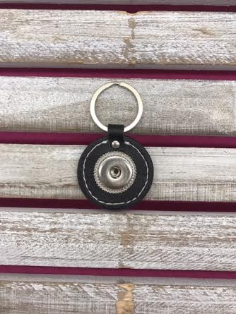 18mm Faux Leather Snap Round Keychain