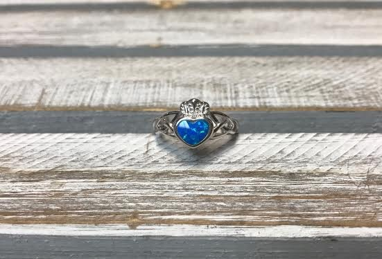 Sterling Silver and Blue Opal Claddagh Ring