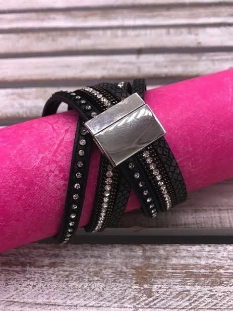 Black Wrap Bracelet with Magnetic Closure