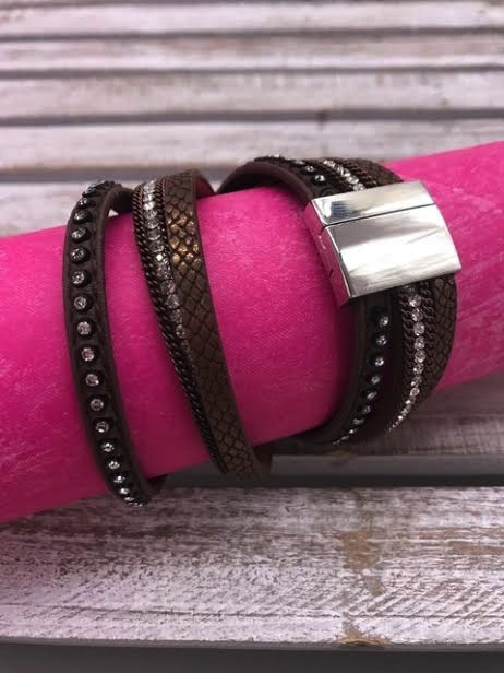 Brown Wrap Bracelet with Magnetic Closure