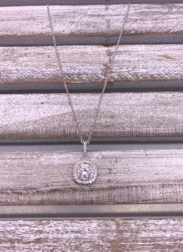 Silver Necklace with Square Cubic Zirconia Pendant