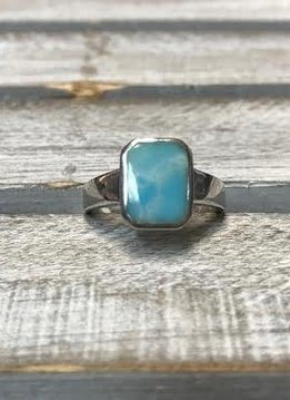 Sterling Silver and Larimar Rectangle Ring