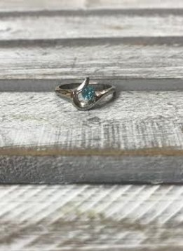 Stainless Steel Ring with Blue Cubic Zirconia Stone