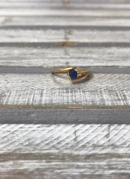Stainless Steel Gold Plating with Blue Cubic Zirconia Stone