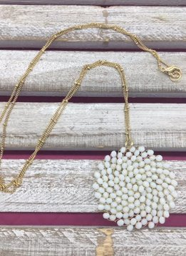 White Beaded Circle Long Necklace