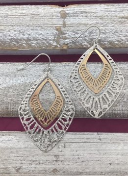 Two Toned Silver and Rose Gold Filigree Earrings