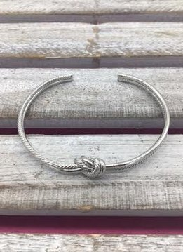 Braided Love Knot Silver Cuff Bracelet