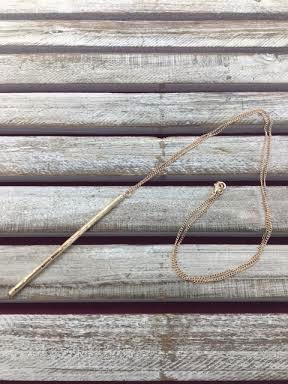 Faceted Rose Gold Bar Long Necklace