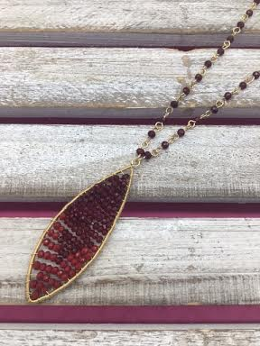 Burgundy Beaded Pendant on Long Gold Necklace