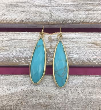 Long Turquoise and Gold Earrings