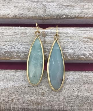 Long Blue Green and Gold Earrings