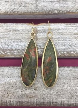 Long Jasper and Gold Earrings