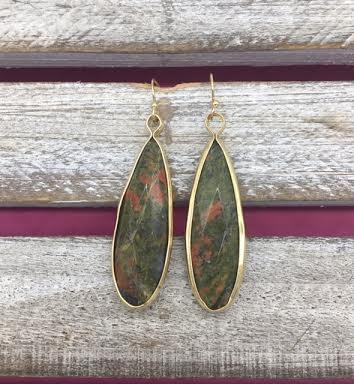 Long Jasper and Gold Earrings