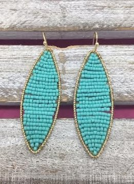Long Mint Beaded Gold Earrings