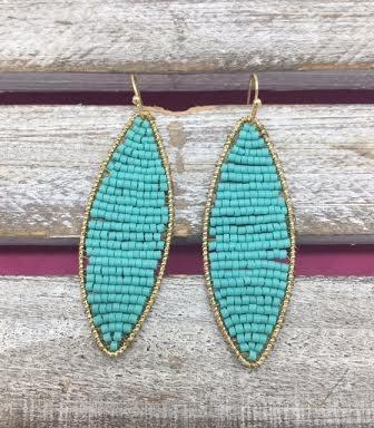 Long Mint Beaded Gold Earrings