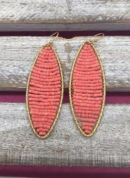 Long Coral Beaded Gold Earrings