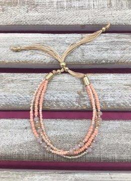 Beaded Peach Adjustable Bracelet