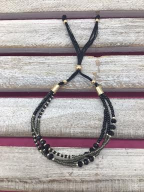 Beaded Black Adjustable Bracelet