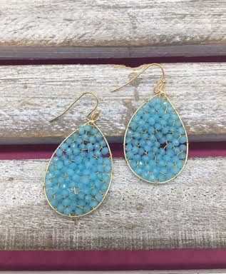 Beaded Blue and Gold Earrings