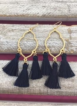 Gold and Navy Tassel Earrings