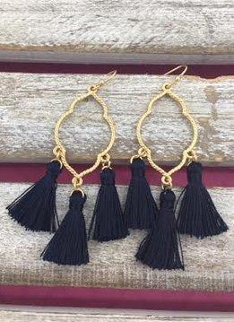 Gold and Navy Tassel Earrings