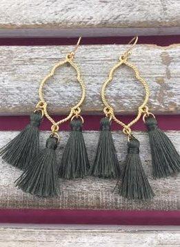 Gold and Dark Green Tassel Earrings