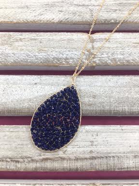 Blue Beaded Tear Drop Necklace