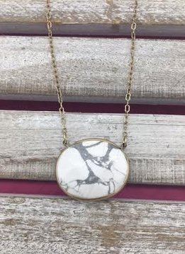 White Marbled Oval Necklace with Gold Chain