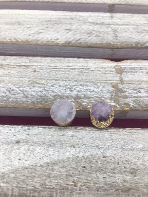 Purple Druzy Stud Earrings