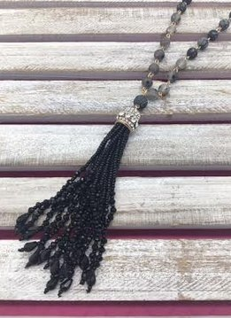 Black Beaded Necklace with Beaded Tassel