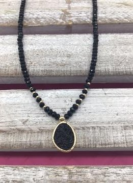Black Beaded Choker and Black Druzy Pendant