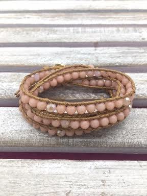 Pink Bead Wrap Bracelet