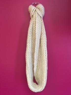 Beige Infinity Scarf with Gold Flakes