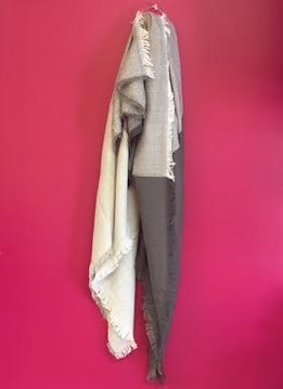 Gray and White Blanket Scarf