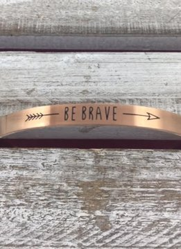 "Stainless Steel Rose Gold ""Be Brave"" Bangle"