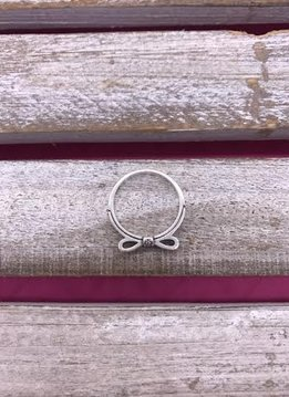 Sterling Silver Bow Ring with Cubic Zirconia Stones